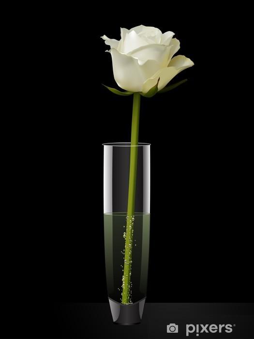Papier peint vinyle Rose blanche dans un vase sur un fond noir - Thèmes