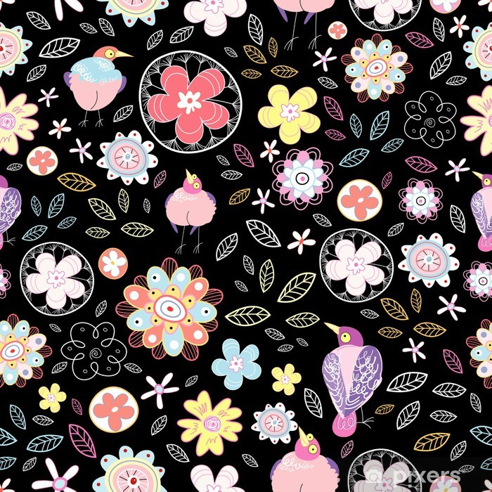 Plakát Květinový vzor s ptáky - Struktury