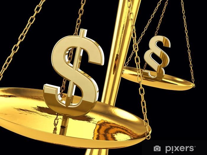 fotobehang dollar en paragraaf teken op een koperen schaal, 3d