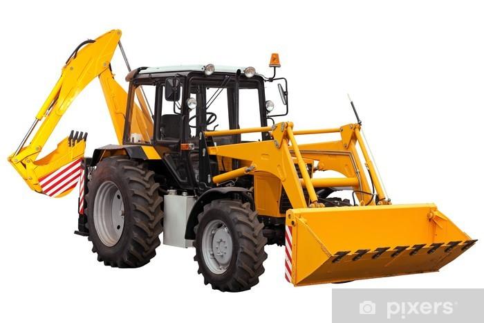 Sticker Pixerstick Yellow bulldozer pelle sur fond blanc - Machines