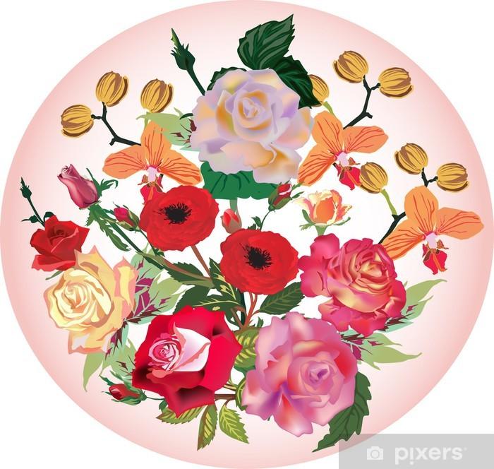Mazzo Di Fiori Orchidee.Carta Da Parati Mazzo Di Orchidee E Rose Fiori Sul Rosa Pixers