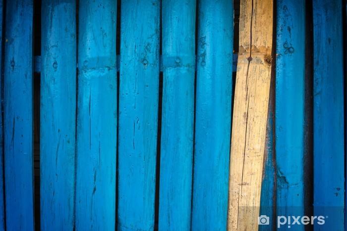 Fotomural Estándar Pared de bambú pintado de azul - Texturas