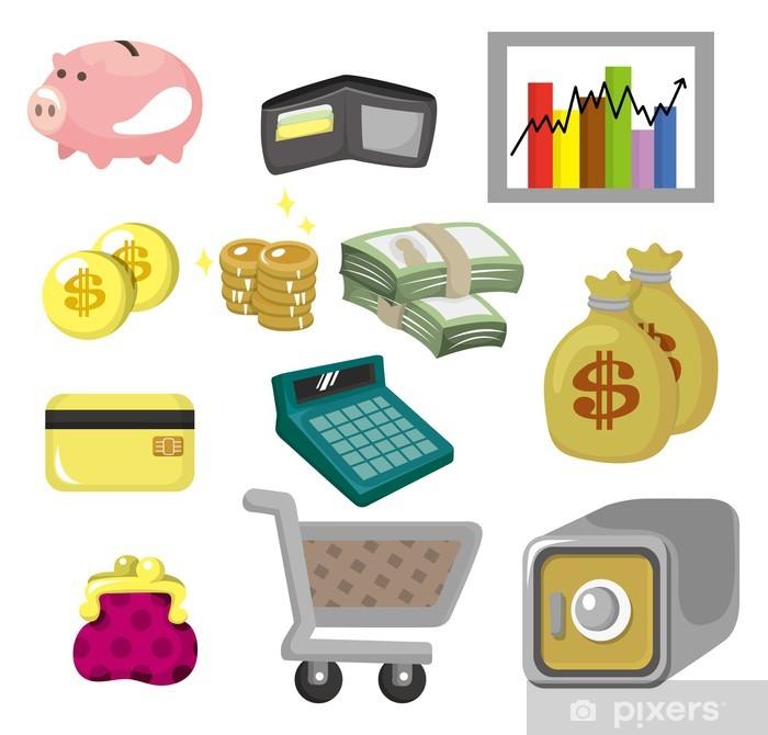Naklejka Pixerstick Finanse i pieniądze cartoon zestaw ikon - Gry