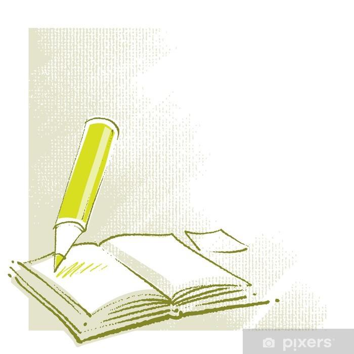 Papier Peint Icone Livre Ouvert Avec Un Crayon Stylise Simplifie