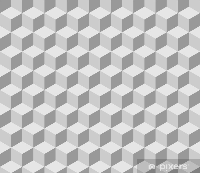 Afwasbaar Fotobehang Naadloze tilable 3d isometrische kubus patroon - Illusie