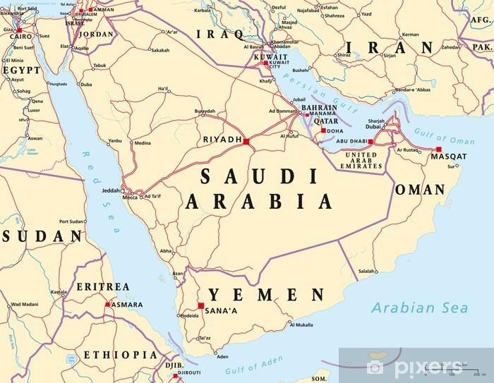 Pixerstick Sticker Arabisch Schiereiland Kaart - Thema's