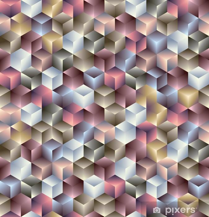 Pixerstick-klistremerke 3d terninger geometrisk sømløs mønster. -