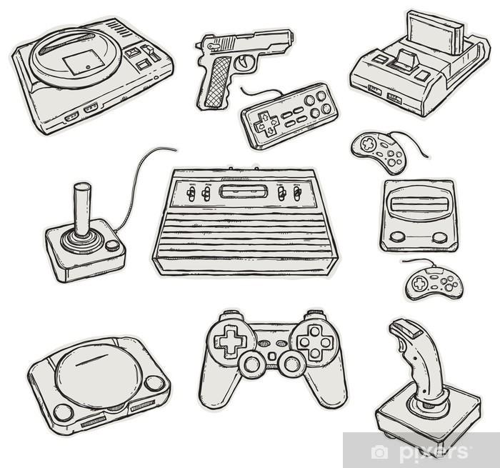 Vintage Game consoles Pixerstick Sticker - Games