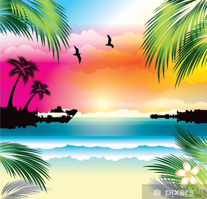 Sticker Pixerstick Coucher du soleil tropical - Thèmes