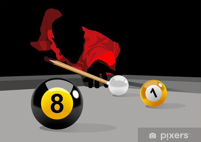 Illustration of a man playing pool Vinyl Wall Mural - Entertainment