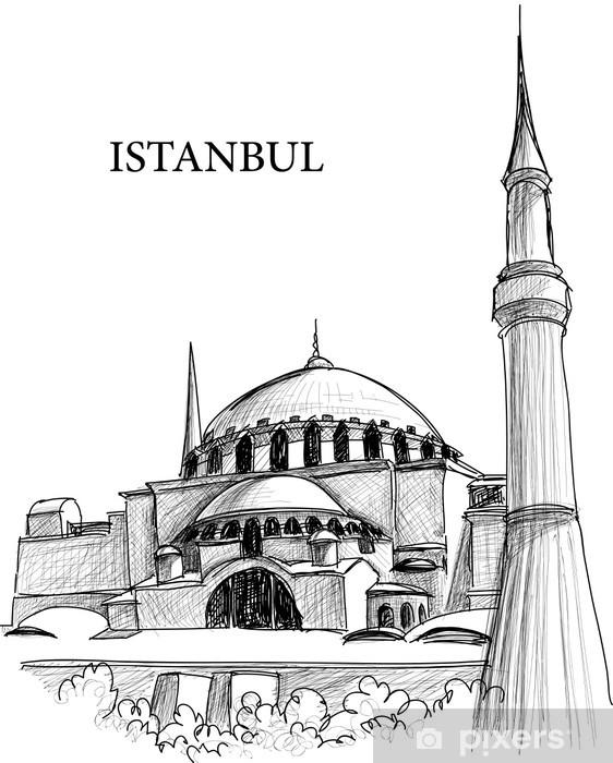 Fototapeta winylowa Istanbul Hagia Sofia szkic katedra - Budynki użyteczności publicznej