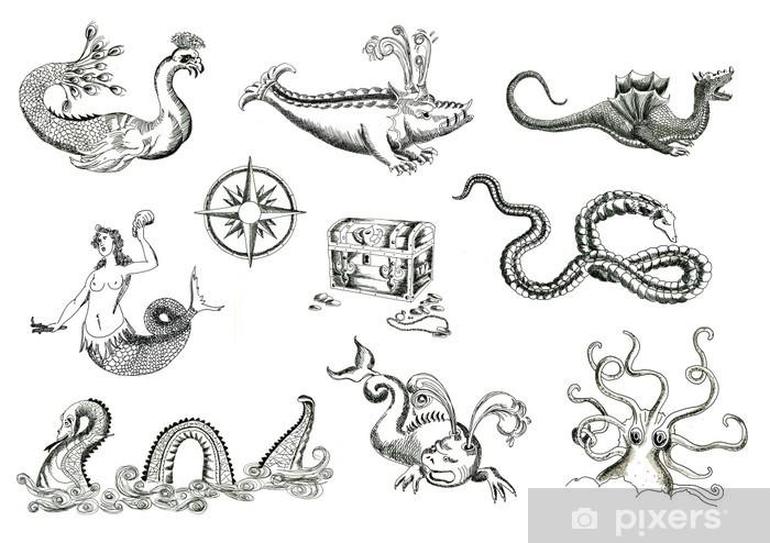 Sticker Pixerstick Les monstres marins pour les cartes au trésor - Animaux imaginaires