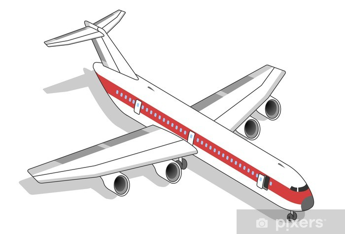Vinyl Fotobehang Vliegtuig met rode streep - Lucht