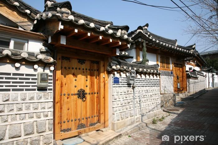 Naklejka Pixerstick Korea Bukchon Hanok Wioska - Miasta azjatyckie