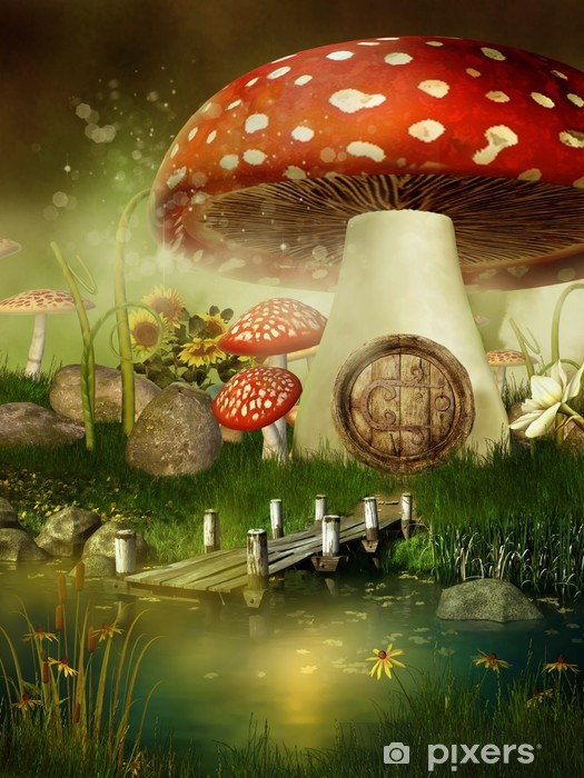 Çıkartması Pixerstick Basniowy domek z muchomora -