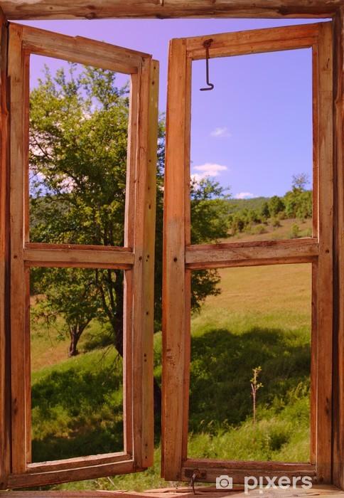 landscape seen through a window Pixerstick Sticker - Themes