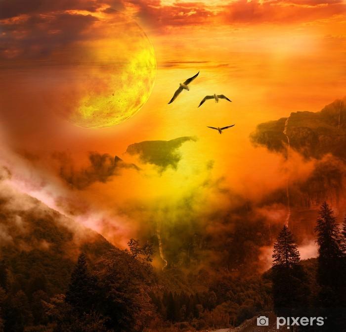 Papier peint vinyle Paysage fantastique oiseaux - Temps