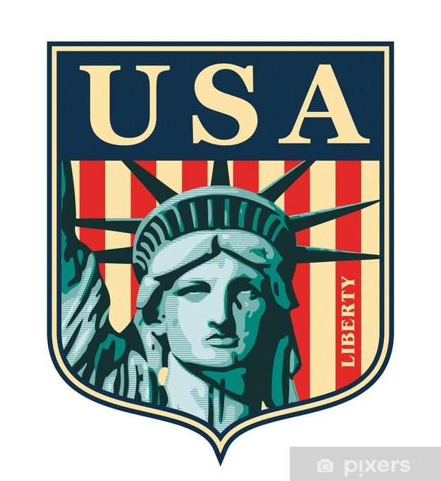 Adesivo Pixerstick Statua della Libertà. New York punto di riferimento e il simbolo. - Città Americane