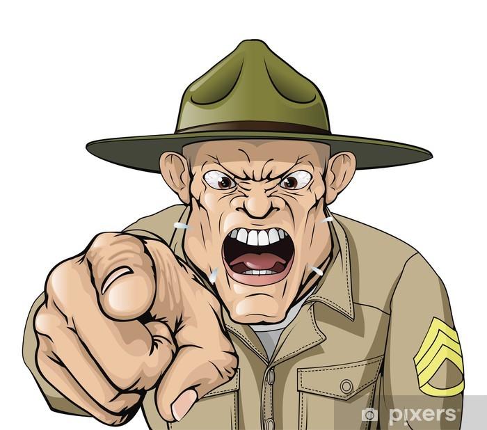 Poster Cartoon sergent en colère criant exercices militaires - Colère