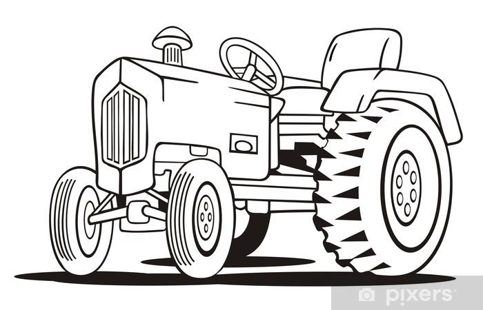 Traktör Boyama şablon Duvar Resmi Pixers Haydi Dünyanızı