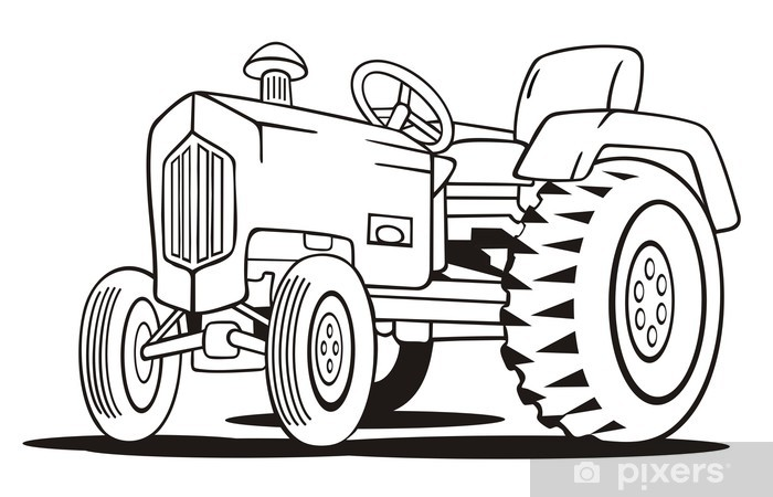 Tractor Coloring Template Wall Mural Pixers We Live To Change