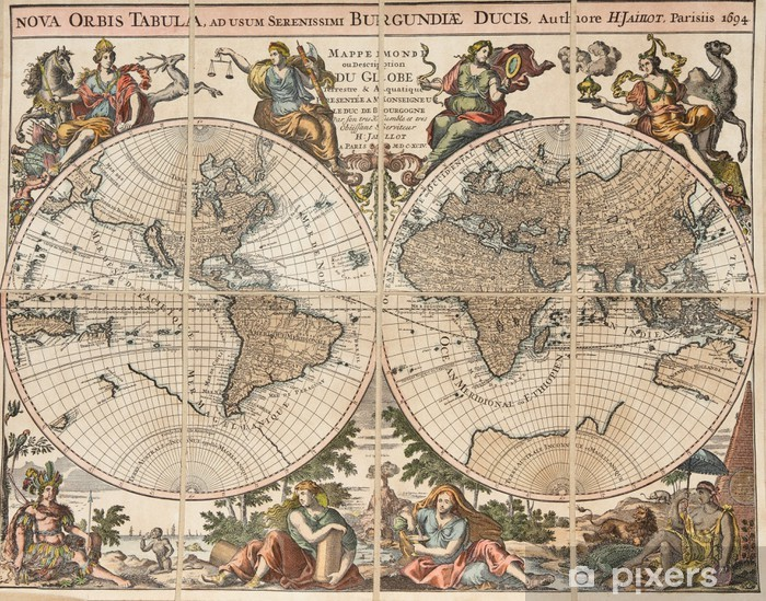 Sticker Pixerstick Carte antique du monde: «La Nouvelle-orbis tabula». H. Jaillot 1694 - Thèmes