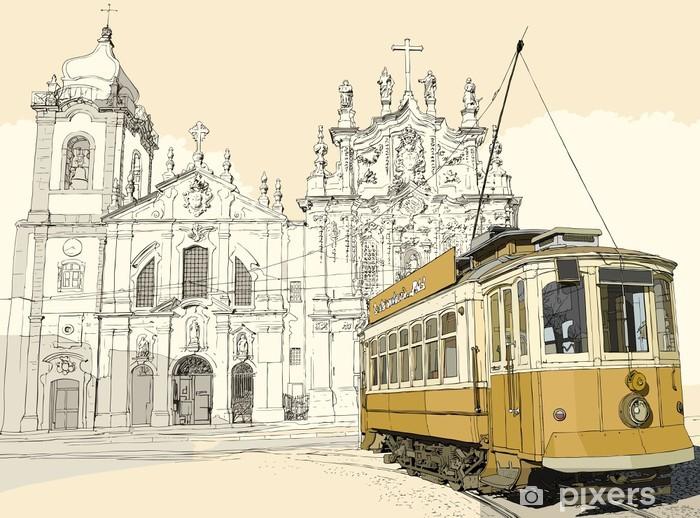 tramway in Porto Vinyl Wall Mural -