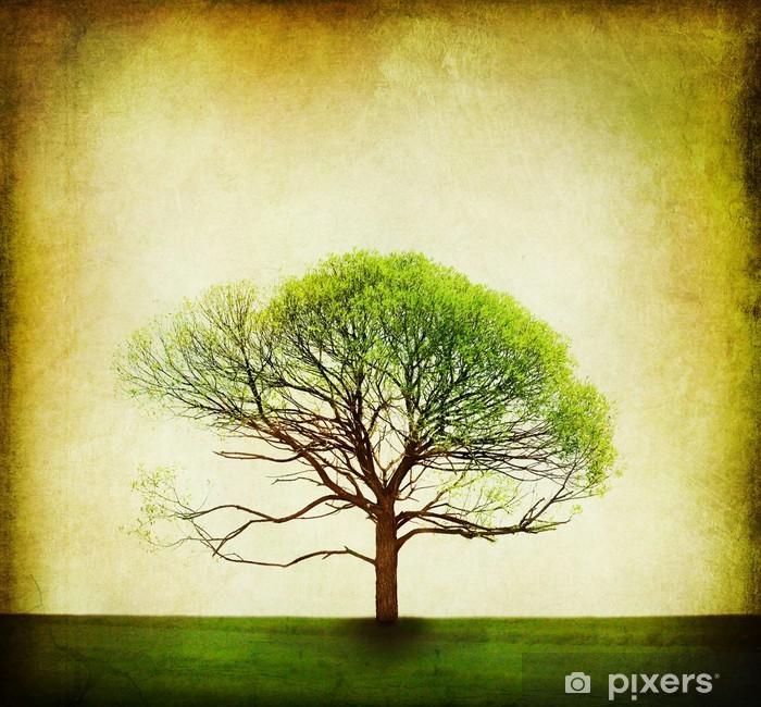 Vinyl-Fototapete Nature Design. Weinlese-Baum-Hintergrund - Haus und Garten