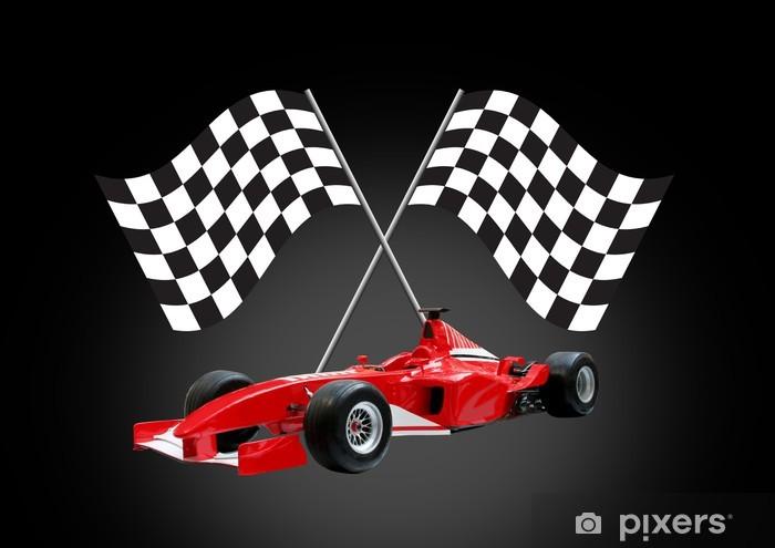 Fototapeta winylowa Wzór czerwony samochód i flag - Tematy