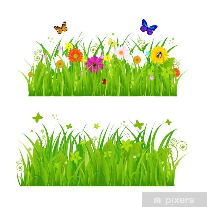 Pixerstick Sticker Groen Gras met bloemen en insecten - Muursticker