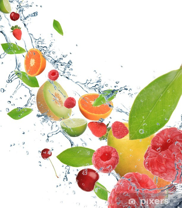 Fototapeta winylowa Świeże owoce w ruchu - Owoce