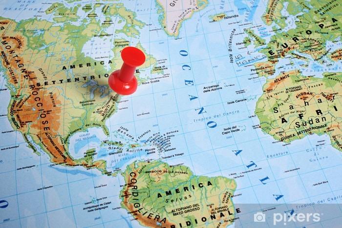 Cartina Geografica Canarie.Carta Geografica Con Puntina Rossa Sticker Pixers We Live To Change