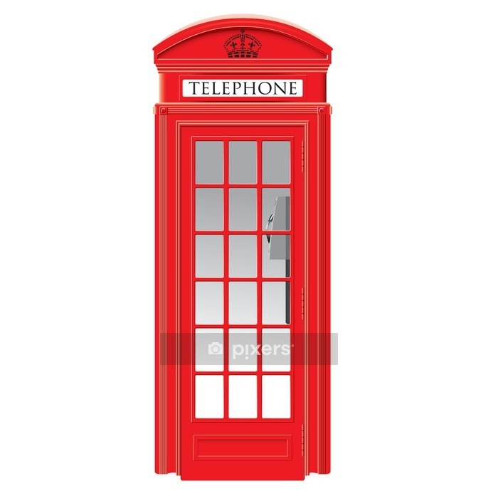 Red telephone box - London - vector Wall Decal - European Cities