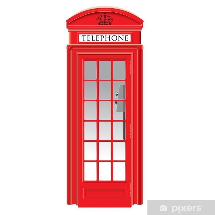 Red telephone box - London - vector Vinyl Wall Mural - European Cities
