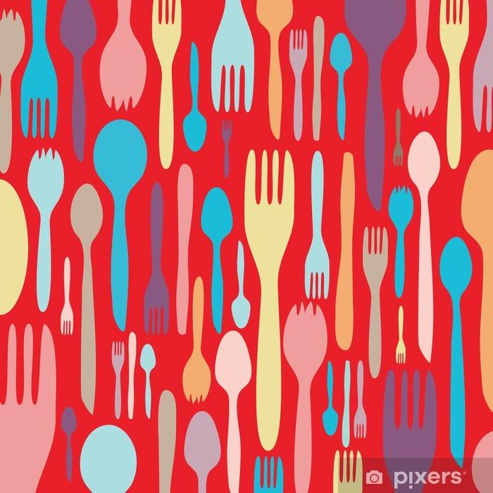 Sticker Pixerstick Invitation à dîner avec ustensile silhouette - Thèmes