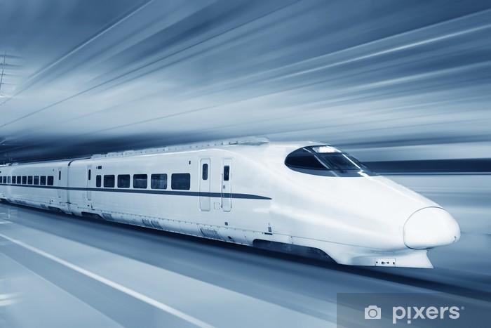 Fototapeta winylowa Szybki pociąg z motion blur. - Tematy