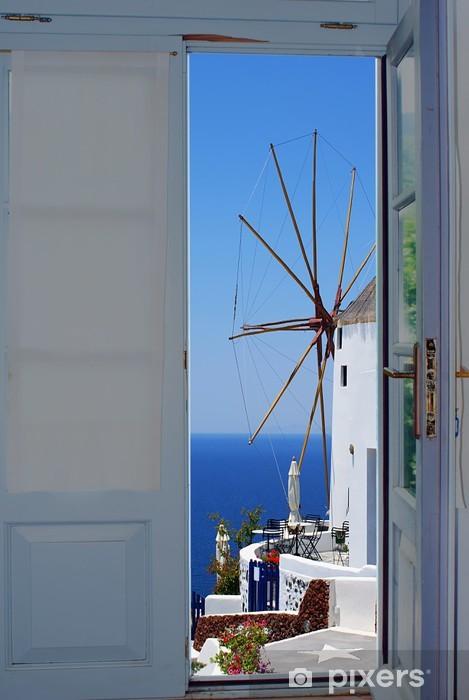 papier peint porte du balcon avec une vue magnifique sur l. Black Bedroom Furniture Sets. Home Design Ideas