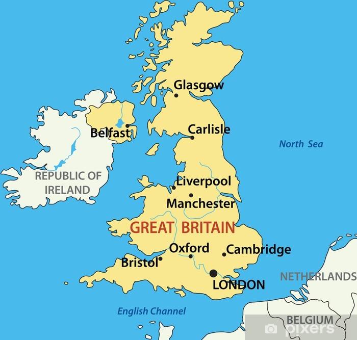 Immagini Della Cartina Della Gran Bretagna.Poster Illustrazione Vettoriale Mappa Del Regno Unito Di Gran Bretagna Pixers Viviamo Per Il Cambiamento