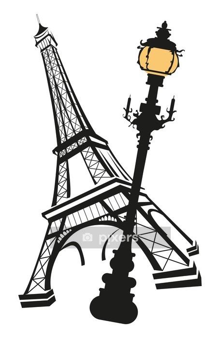 Eiffel Tower with Street Light Wall Decal - European Cities