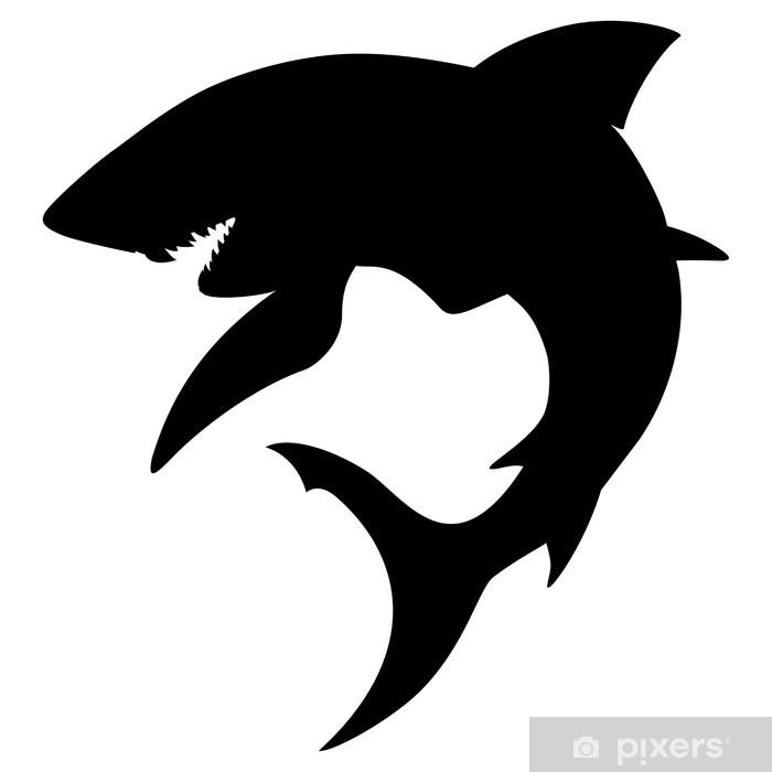 Fototapeta winylowa Silhouette Shark - Rekiny