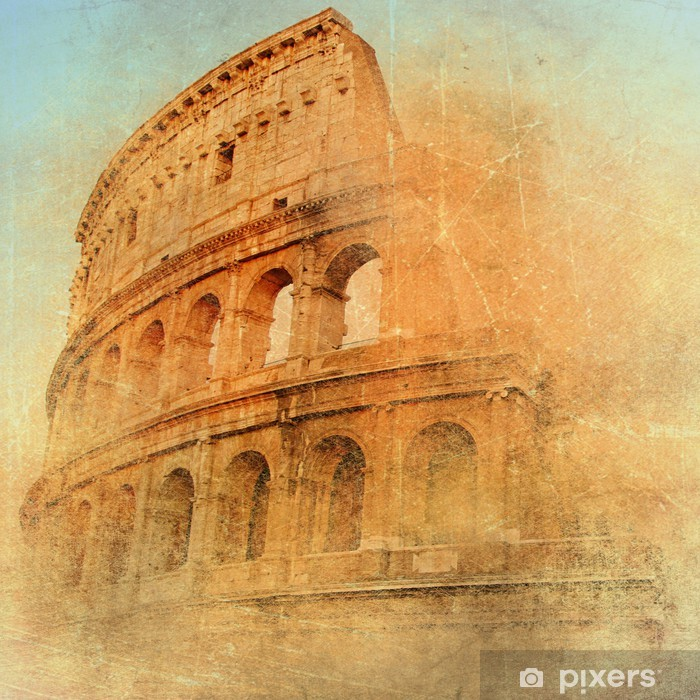 Sticker Pixerstick Grande Rome antique - Colisée, illustrations dans le style rétro - Styles