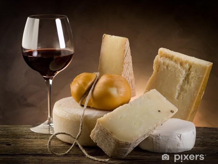 Papier peint vinyle Le vin rouge et le fromage - Fromage