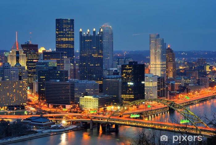 Papier peint vinyle Pittsburgh, Pennsylvanie Downtown Skyline - Amérique