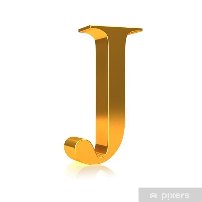 """Poster Lettre d'or 3d """"J"""" - Signes et symboles"""