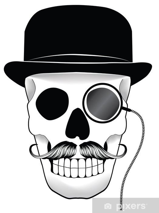 Pixerstick Sticker Illustratie van een schedel met hoed snor en monocle - Snor