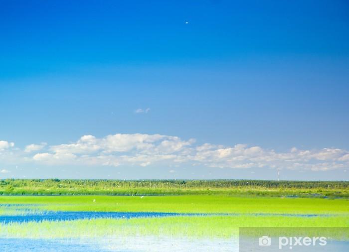 Naklejka Pixerstick Krajobraz jeziora raj - Pory roku