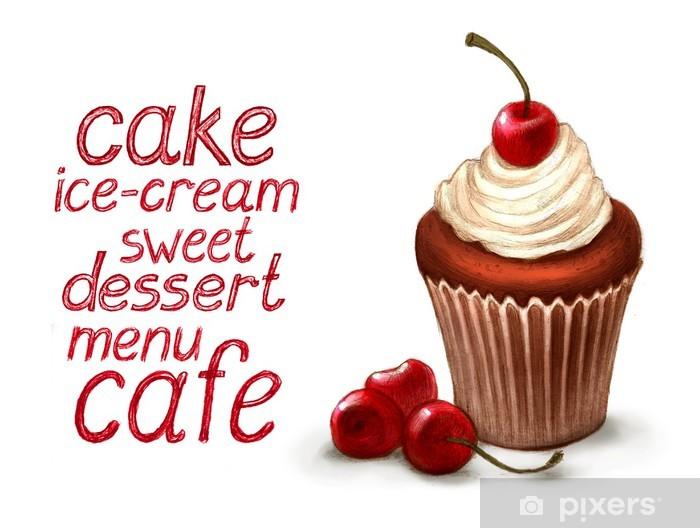 Naklejka Pixerstick Cupcake z tekstem wiśniowego i deser - Sztuka i twórczość