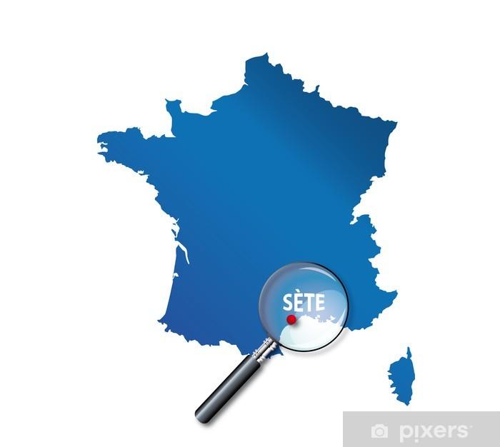 sete carte de france Sète : Carte de France   département de l'Hérault Wall Mural