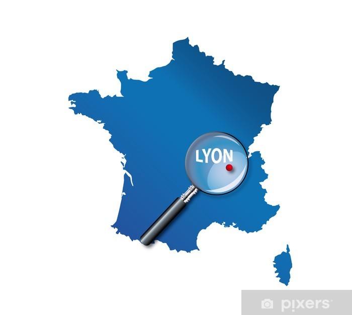 Lyon : Carte de France - département du Rhône Wall Mural ...