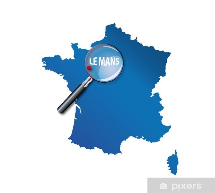 carte de france le mans Le Mans : Carte de France   département de la Sarthe Wall Mural